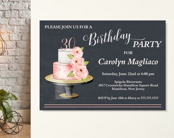 Womens Birthday Party Invitation, 30th Birthday Invite, Surprise Birthday Invite, Classic, Modern, Floral, Birthday, 40th, 50th, 60th, 70th