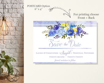 Lilac Floral Save the Date Postcard, Engagement Announcement Cards, Wedding Announcement, Eloped Post Wedding Announcement, Romantic