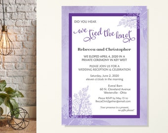 Eloped Reception Invitation, We Tied the Knot, Wedding Reception Invite, Eloped Announcement, We Eloped Invitation, We Got Married