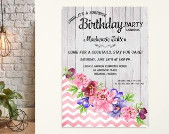 Woman's Birthday Party Invitation, Adult Birthday Invite, Surprise Party, 21st, 30th, 40th, 50th, 65th, 70th, 80th, 90th Celebration