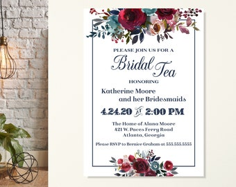 Floral Bridal Tea Invitations, Bridesmaids Tea Party, Wedding Tea Shower, Bridesmaids Luncheon, Tea with the Bride to Be, Bridal Tea Party