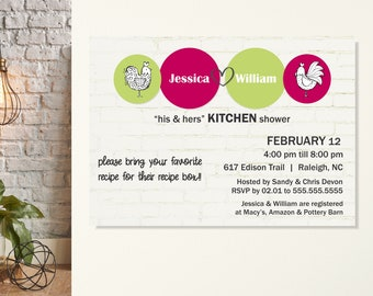 His & Hers Kitchen Shower Invite, Stock the Kitchen Shower, His and Hers Couples Shower, Kitchen Wedding Shower, Couples Kitchen Shower