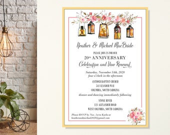 Wedding Anniversary & Vow Renewal Invitation, Barn Wedding Invitation, Garden Party, Rehearsal Dinner, 10th, 20th, 30th, 40th, After Party