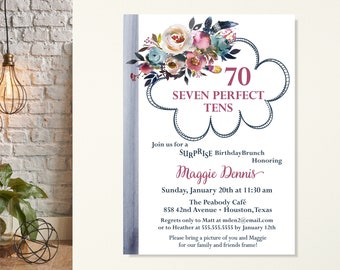 70th Surprise Birthday Party for Women, Surprise Birthday Invitation, Dusty Blue Floral Birthday Invite, 60th Birthday Invite, 50th Birthday