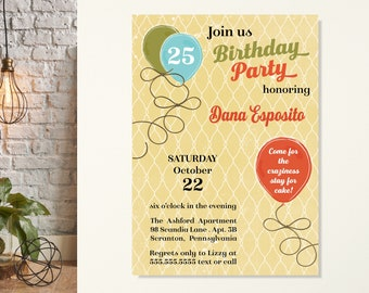 Rustic Birthday Invitation, Country Birthday Party, Shabby Chic Invitation, Adult Birthday Party, 21, 25, 30th, 35, 40, Vintage Invitation