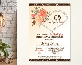 65th Surprise Birthday Brunch, Woman's Surprise Birthday Invitation, Rustic Sparkle Floral Birthday Invite, 60th Birthday, 80th Birthday