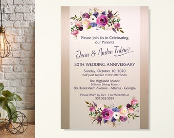 30th Anniversary Party Invitation, Vow Renewal Invitation, Rehearsal Dinner Invitation, Post Wedding Party, Anniversary Celebration