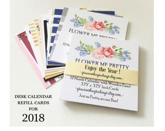 Calendar   2018 Desk Calendar Refill Cards   2018 Monthly Calendar Cards   2018 Calendar   Flower Calendar   2018  Desk Calendar   12 Months