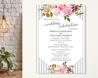Wedding Invitation, Barn Wedding, Garden Party, Rehearsal Dinner, Vow Renewal, Post Wedding Invite, We Eloped Wedding Reception, Floral