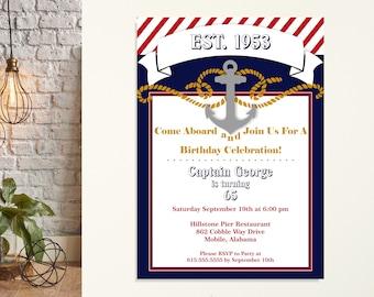 Adult Nautical Birthday Party Invitations, 30th, 40th, 50th, 65th, 70th, 80th 90th, men's birthday party, digital, printable, invite