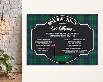 Golf Birthday Party Invitations, Men's Golf Birthday Invite, 60th Birthday Party, Bachelor Party, Golf Outing, 21st Birthday, Plaid, Green
