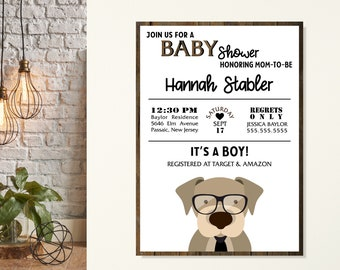 Puppy Dog Tails Baby Shower Invitation, Its A Boy Baby shower Invitations, Baby Boy Shower, Gender Reveal, Sprinkle Baby Shower Invite