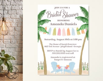 Tropical Bridal Shower Invitation, Beach Wedding Shower, Summer Bridal Shower, Destination Bridal Shower, Bachelorette Party, Palm Tree,