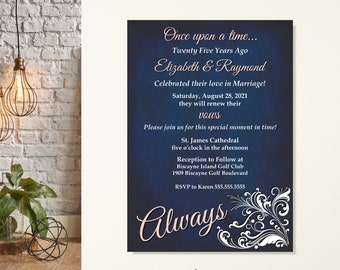 Always Vow Renewal Invitation, 10th Anniversary Invitation, Wedding Anniversary Party, Once Upon a Time, 20th, 25th, 30th, 40th, 45th,