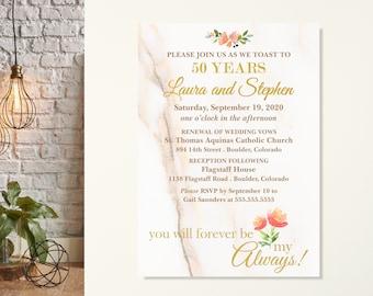 50th Wedding Anniversary Invitations, Vow Renewal Invitations, Always & Forever Vow Renewal Invite, Marble Anniversary Party Invite, Elegant
