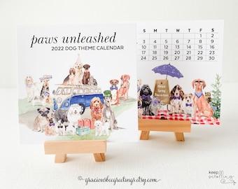 2022 Dog Calendar, 2022 Dog Calendar with Easel, Easel Calendar, 4x4 Dog Calendar, 2022 Dog Desk Calendar, 2022 Pup Calendar with Stand