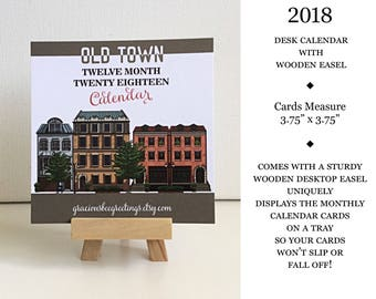 2018 Calendar | Desk Calendar | Desk Calendar with Easel | Architectural Calendar | Monthly Calendar | 12 Month Desk Calendar | Skyline