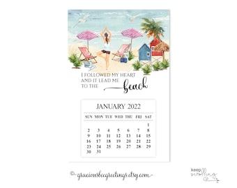 2022 Beach Refrigerator Magnet Calendar, 2022 Fridge Calendar, 2022 Magnet Calendar, Yoga Calendar, Magnetic 2022 Tear-off Calendar, Gift