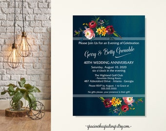 40th Wedding Anniversary Party Invitation, Vow Renewal Invitation, Rehearsal Dinner, Post Wedding Party, 10th, 20th, 30th Anniversary