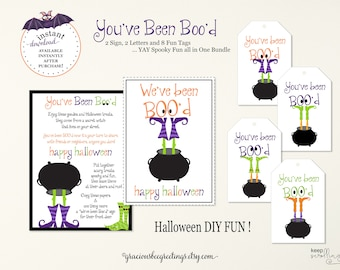 We've Been Boo'd Witch Halloween Signs, You've Been Boo'd Bundle, Halloween Tags, Boo'd Sign, You've Been Boo'd Printable, Boo'd Download