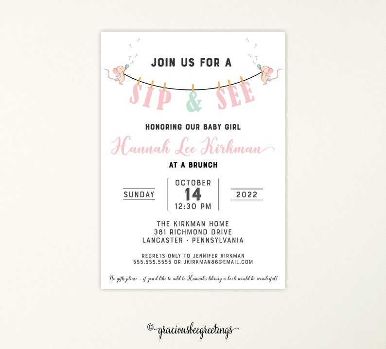 Pink Sip See Invitation