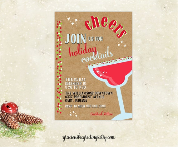Christmas Cocktail Party Invitations.Christmas Cocktail Party Invitation Holiday Cocktails Xmas Cocktail Party Open House Holiday Birthday Party Holiday Get Together
