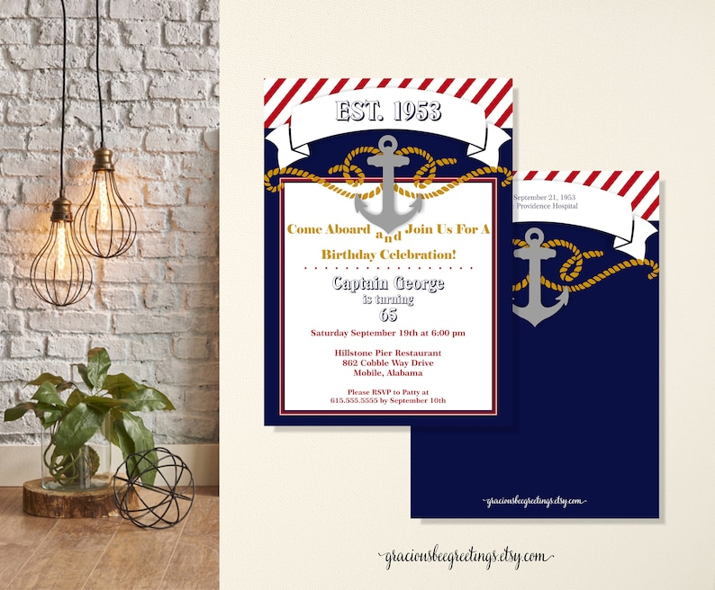 Adult Nautical Birthday Party Invitations 30th 40th 50th