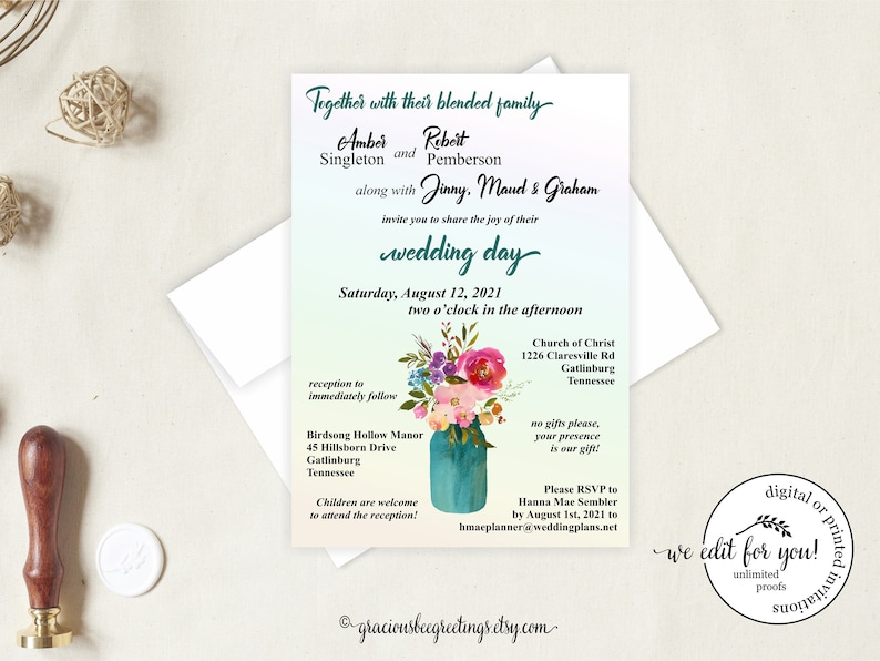 Blended Family Wedding Invitations Invite 2nd Marriage Invitation Casual Reception Cards
