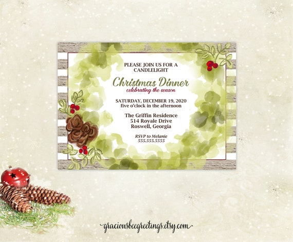 Christmas Dinner Invitation Christmas Brunch Xmas Open House Christmas Cocktails Tea Christmas Corporate Party Holiday Party Xmas Barn Party