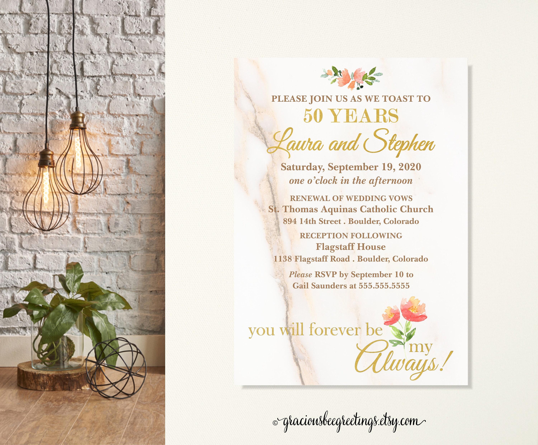 50th Wedding Vow Renewal Invitations: 50th Wedding Anniversary Invitations Vow Renewal