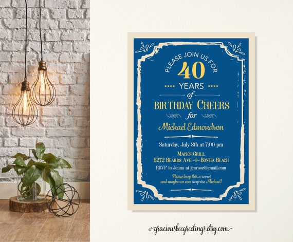 Adult Men S Birthday Party Invitation Typography Birthday Etsy