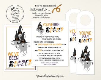 Gnome Themed You've Been Boozed, You've Been Boozed Printable, Halloween Booze Bottle Tags Bundle, Boozed Game, You've Been Boozed Kit