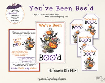 Halloween You've Been Boo'd Bundle, You've Been Boo'd Signs, You've Been Boo'd Tags, Halloween Note, You've Been Boo'd Printable, Download