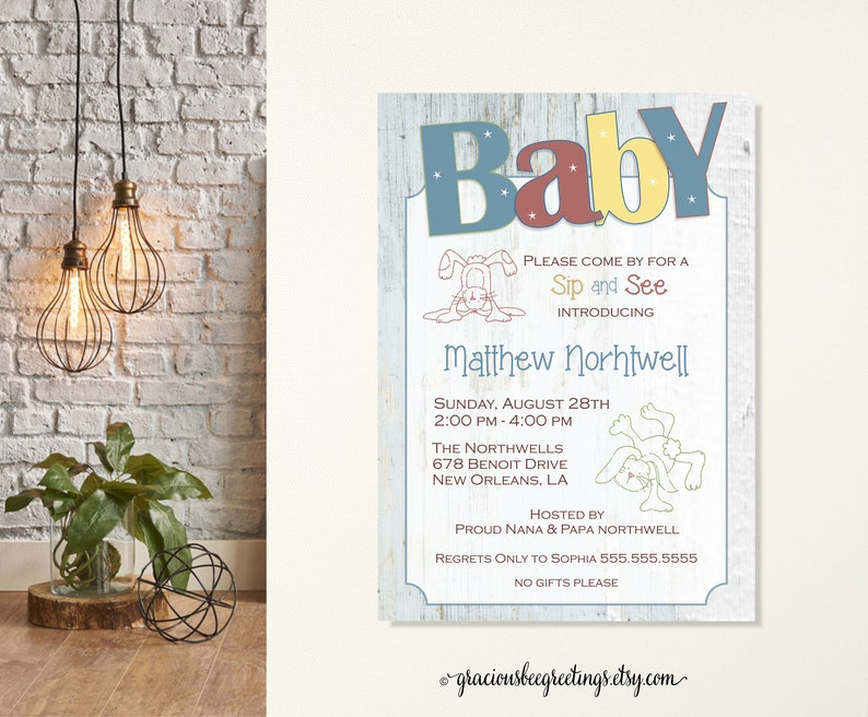 Baby Sip And See Invitations N Invite Shower New Boy Girl