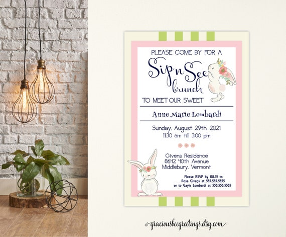 sip and see invitation girl sip and see invites sip and see etsy