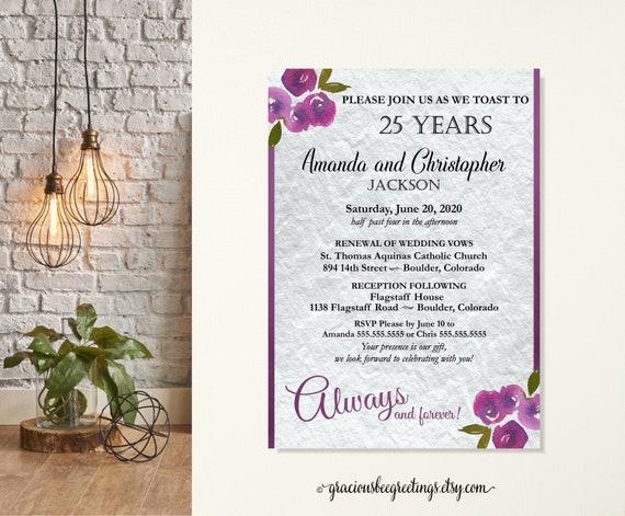 25th Wedding Invitations: 25th Anniversary Vow Renewal Invitation Silver Anniversary
