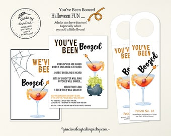 You've Been Boozed Halloween, You've Been Boozed Bundle, Halloween Booze Bottle Tags, You've Been Boozed Game, Halloween Boozed Signs