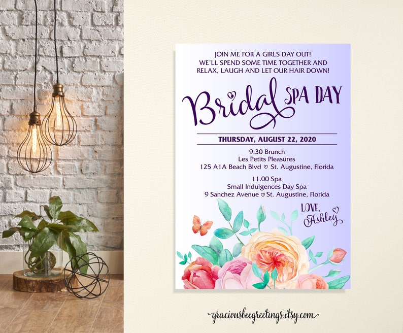 Bridesmaids Spa Day Invitation Brides Luncheon Bridal Party Lunch Brunch Wedding Bachlorette Invite Printable