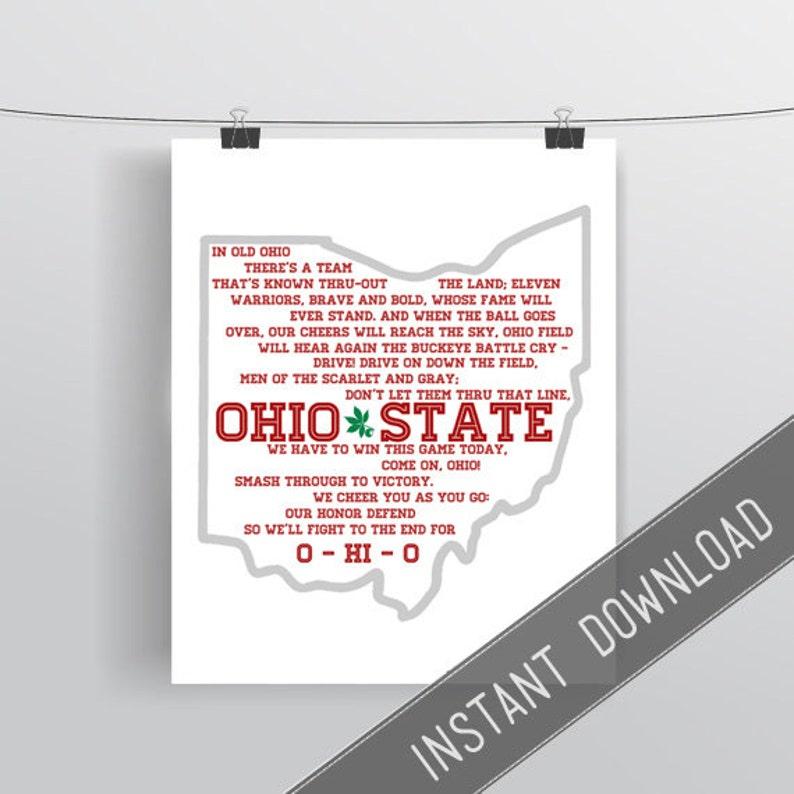OSU - Ohio State University - Battle Cry - Song Lyrics - Instant Download