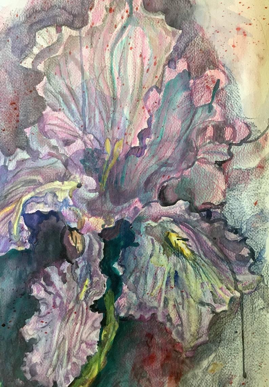 Leau Couleur Peinture Iris Bleu Très Grand Mur Art Etsy