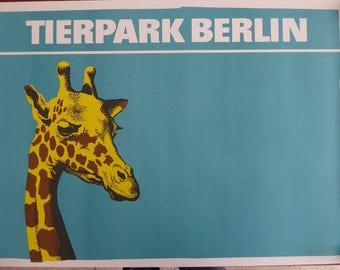 Original Vintage Giraffe Zoo Poster 1980s - Original Berlin Tierpark Zoo Poster - Rare original East German authentic mammal poster