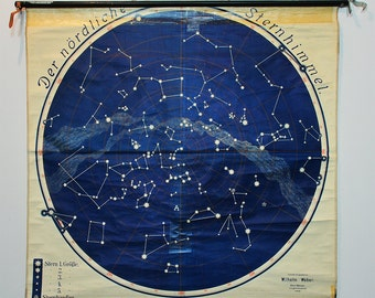 Large Antique Astronomy School Chart - Authentic Northern Star Sky Poster Linen Backed - Original Star Map circa 1910