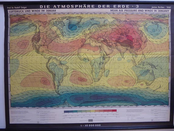 Authentic World Map.Original Vintage World Map Weather World Pull Down Chart Etsy