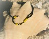 The REAL FISH HOOK Bracelet Anklet - Yellow on Black Hook
