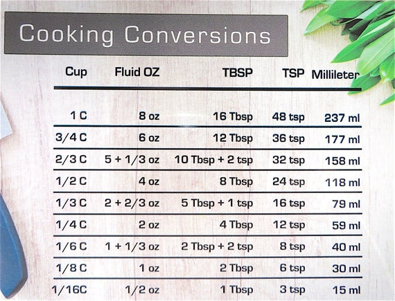 Cooking Conversions Magnet Conversion Chart Decal Kitchen Conversions Magnet Baking Conversion Decal Refrigerator Magnet Baking Chart