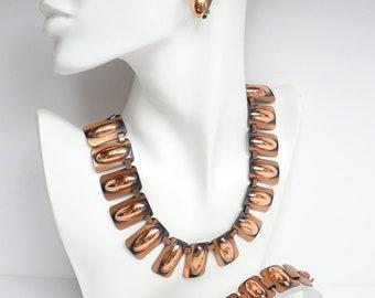 1940s Renoir Link Necklace, Bracelet & Earrings – Renoir Parure – Vintage Jewelry – Copper Jewelry