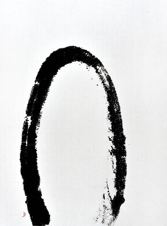 Half Moon Circle Original Chinese Ink Painting Symbol Bw Etsy
