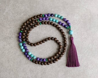 Mala Prayer Beads - Turquoise Howlite and Crazy Lace Agate with Graywood - Tassel Necklace - Item # 720