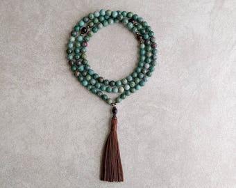 Mala Necklace - African Jade with Ebony Wood - Meditation Prayer Beads - Healing Gift - Item # 983