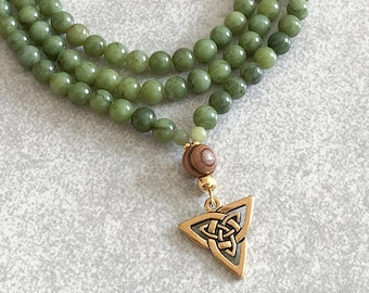Trinity Knot Mala Necklace Green Jade with Jasper & Olive Wood - 6mm Beaded Necklace - Item # 729